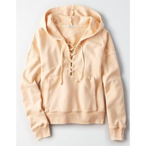 American Eagle Lace-Up Yellow Hoodie💛